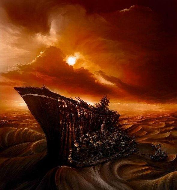 корабль, город, пустыня, рисунок, обои, картинка 5804 - www.GdeFon.ru.