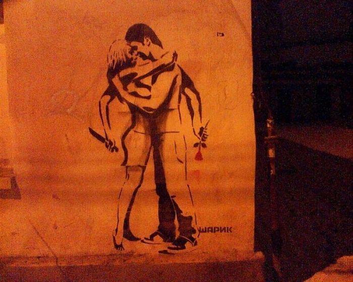 Граффити со смыслом от Шарика (20 фото)
